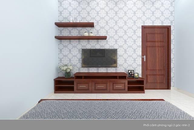 Phòng ngủ gỗ có kệ trang trí tivi đẹp