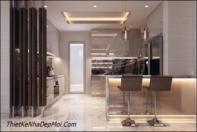 Trang trí nội thất phòng bếp có bar hiện đại