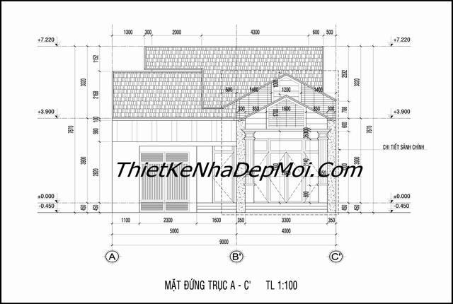 bản vẽ thiết kế nhà chữ L 2 phòng ngủ
