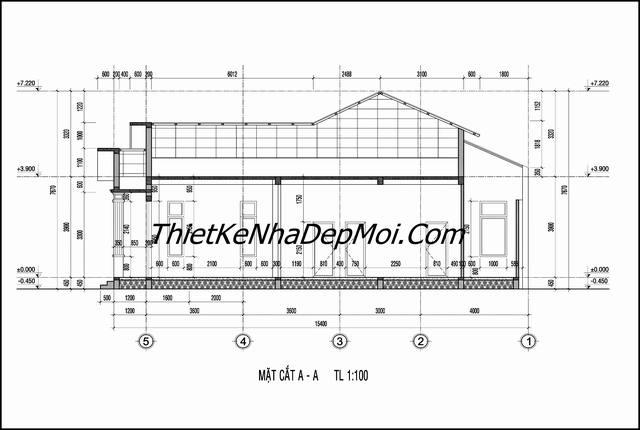 Bản vẽ xây nhà mái thái đơn giản