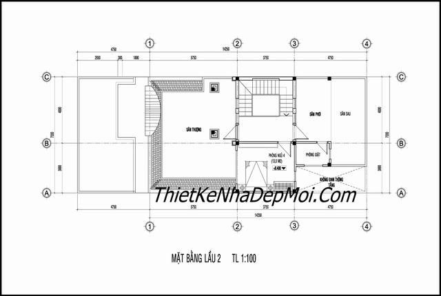 Mặt bằng nhà 2 tầng 1 tum 7x16m
