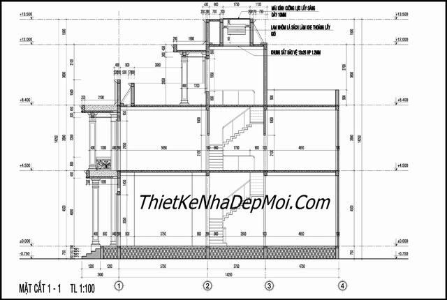 Bản vẽ nhà phố kiến trúc pháp 7x16m