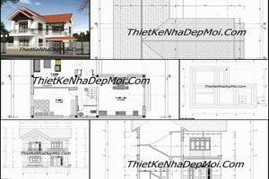 Bản vẽ nhà 2 tầng hoàn chỉnh xây dựng