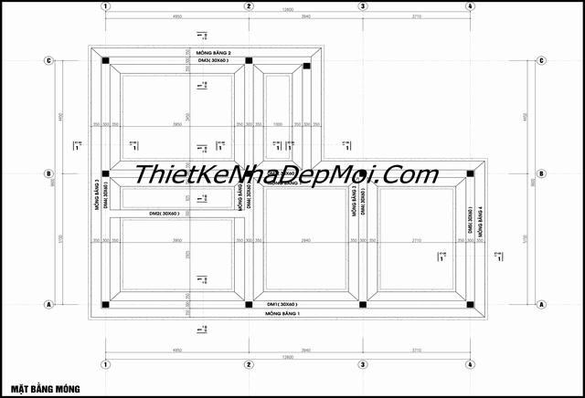 Bản vẽ móng nhà 2 tầng chữ L 100m2