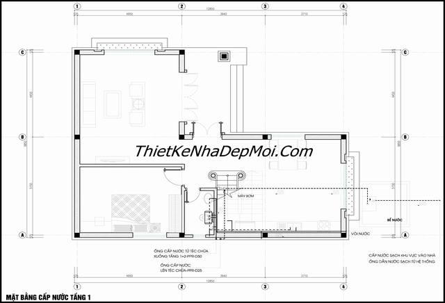 bản vẽ nhà 1 trệt 1 lầu chữ L 3 phòng ngủ 100m2