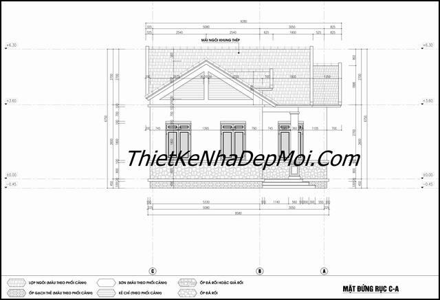 Bản vẽ xây nhà 100m2 3 phòng ngủ ở quê