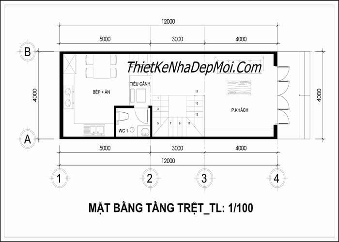 Bản vẽ xây nhà phố 4x12m