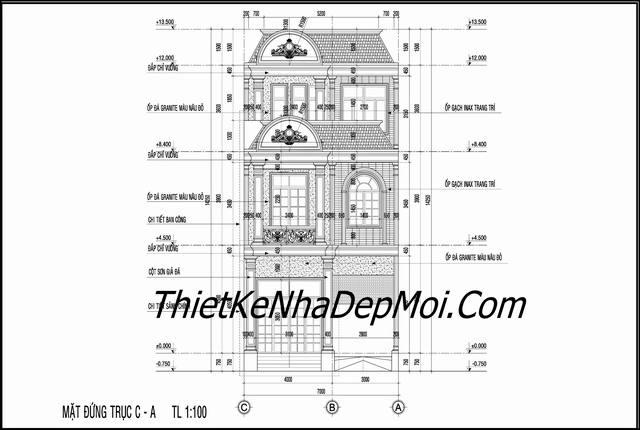 Bản vẽ trực đúng nhà mặt tiền 7m 2 tầng 1 tum