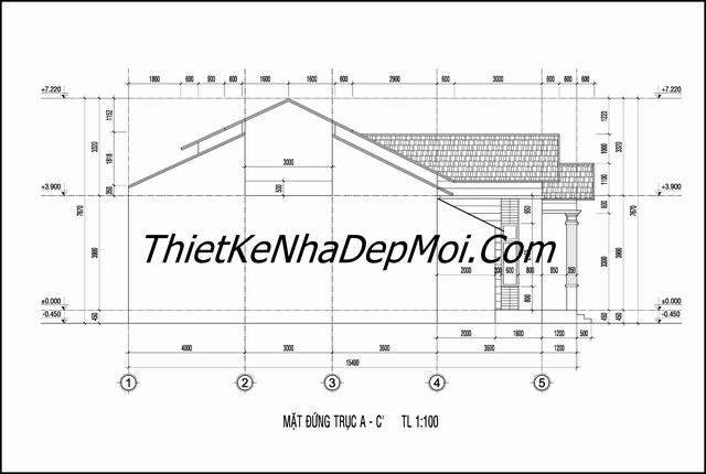 Bản vẽ xây nhà mái thái chữ L 2 phòng ngủ