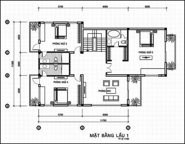 bản vẽ thiết kế biệt thự 3 tầng 5 phòng ngủ 11x14m