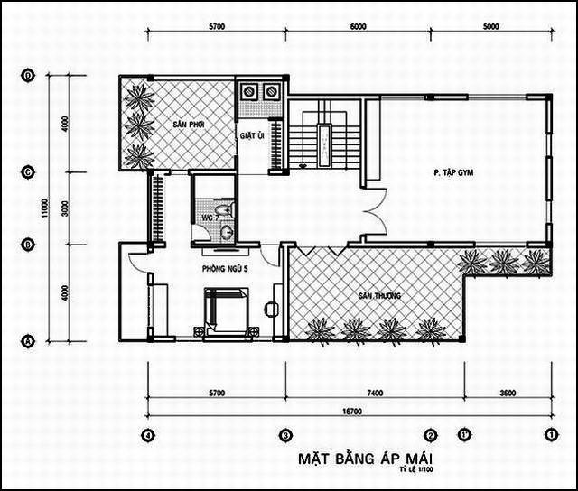bản vẽ biệt thự mini 3 tầng 11x14m