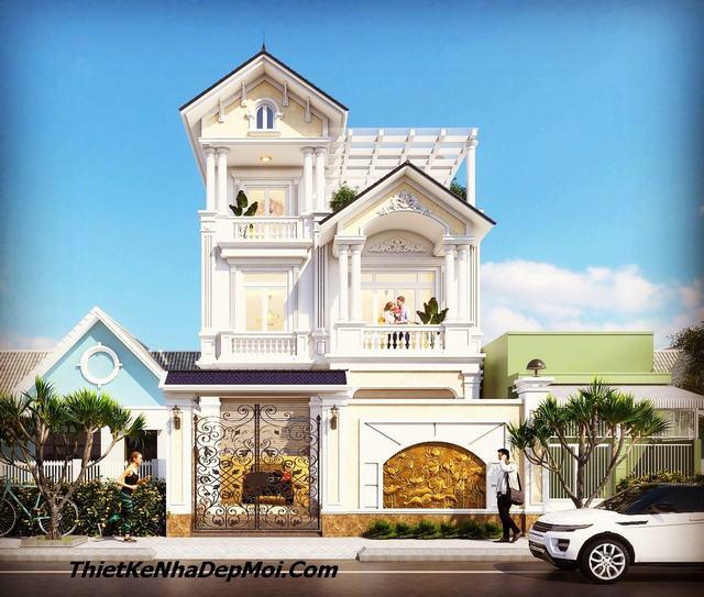 Mẫu nhà đẹp 3 tầng mặt tiền 8m mái thái