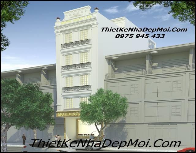 Hình ảnh thiết kế mặt tiền nhà nghỉ tân cổ điển 5 tầng 6x18m