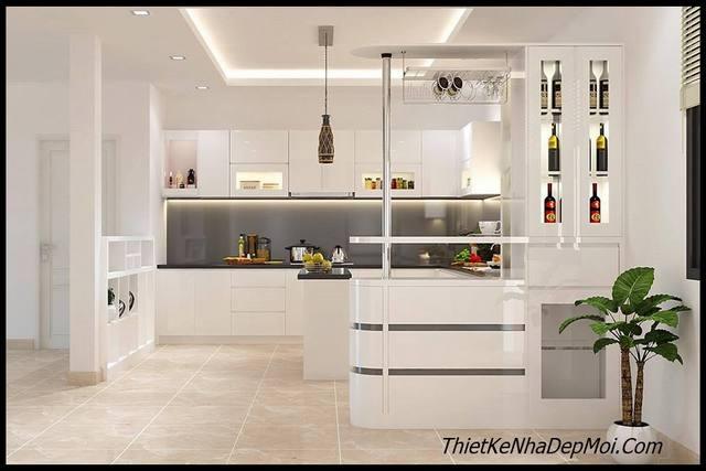 Thiết kế không gian bếp tông màu trắng sáng sạch sẽ