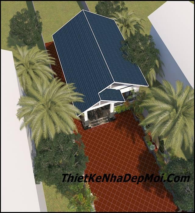 Mẫu nhà mái thái 1 tầng có tầng âm