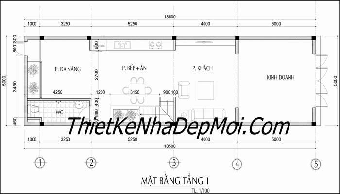 Thiết kế nhà phố 2 tầng 5x18m mặt tiền 5 mét