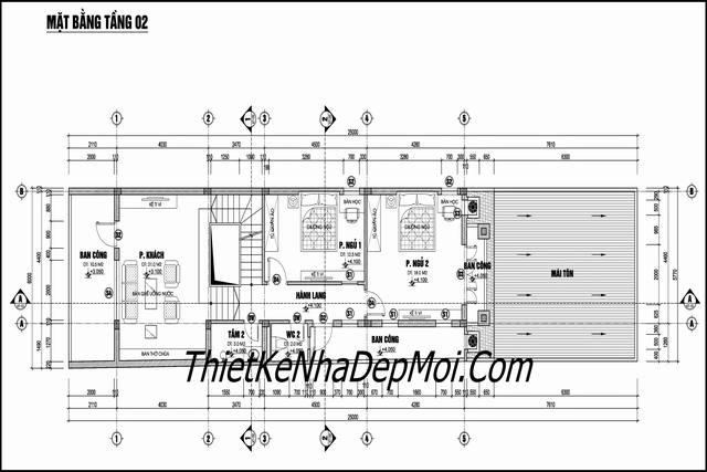 Bản vẽ nhà 6m 1 trệt 2 lầu mái thái
