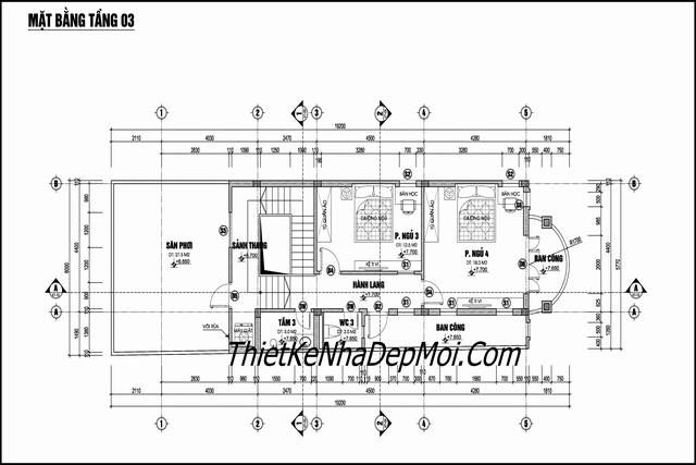 Bản vẽ thiết kế nhà ống mái thái ba tầng 6x20