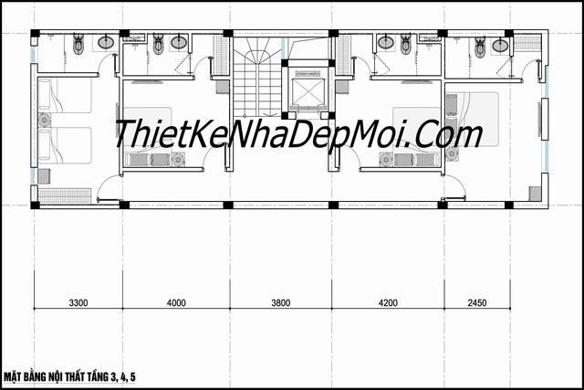 Thiết kế nhà nghỉ tân cổ điển 5 tầng kiểu châu âu có 15 phòng