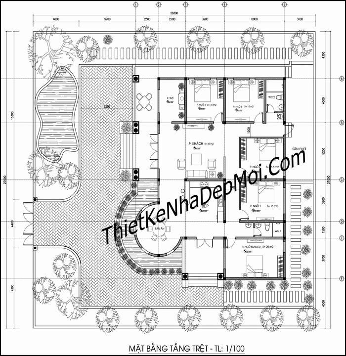 Nhà vườn 1 tầng 5 phòng ngủ