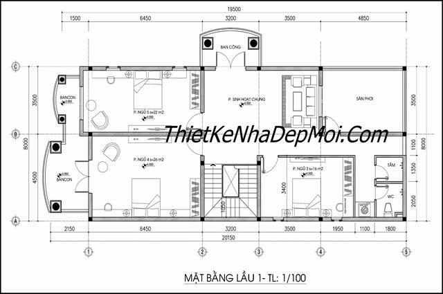 Thiết kế nhà đẹp 2 tầng 8x16