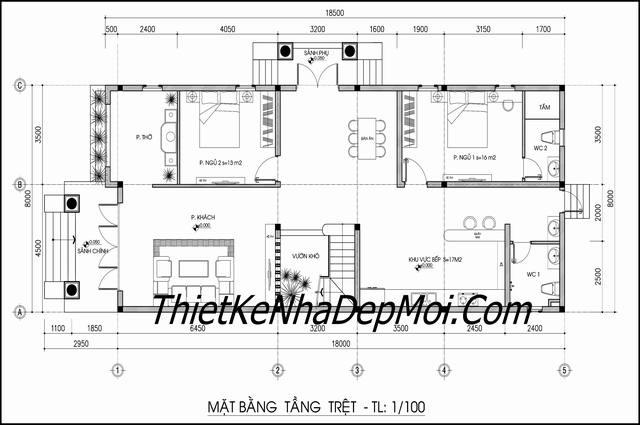 Bản vẽ nhà biệt thự 2 tầng 8x16