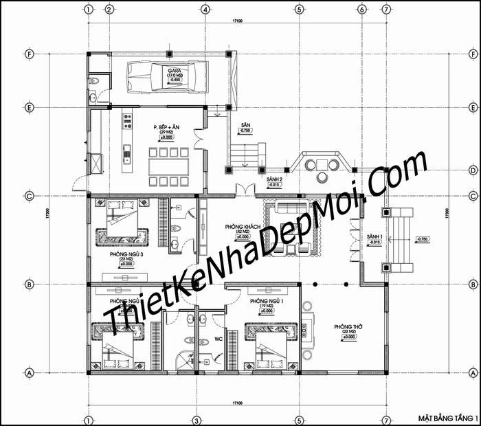 Thiết kế nhà 1 tầng 3 phòng ngủ kiểu Nhật