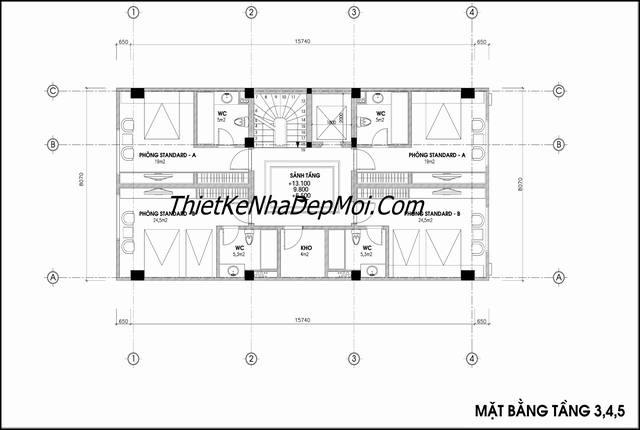 Bản vẽ khách sạn 3 sao tiêu chuẩn Việt Nam 2021