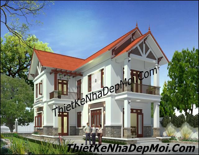 Mẫu nhà đẹp 2 tầng ở nông thôn kiểu dáng hình chữ L mái ngói