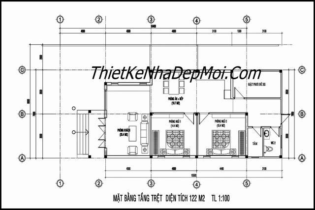 Nhà cấp 4 mái tôn 2 phòng ngủ