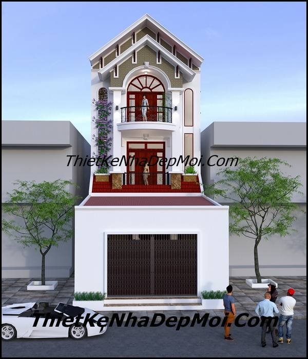 Thiết kế nhà 3 tầng mặt tiền 6m mái thái