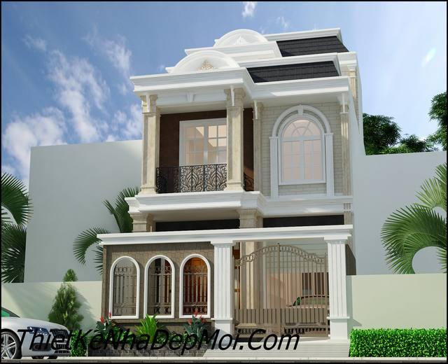 Phối cảnh mẫu nhà kiểu pháp hiện đại 2.5 tầng
