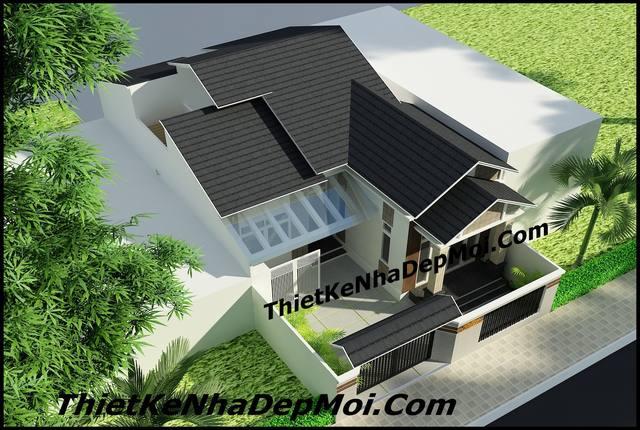 mẫu nhà 1 tầng chữ L giá rẻ nông thôn