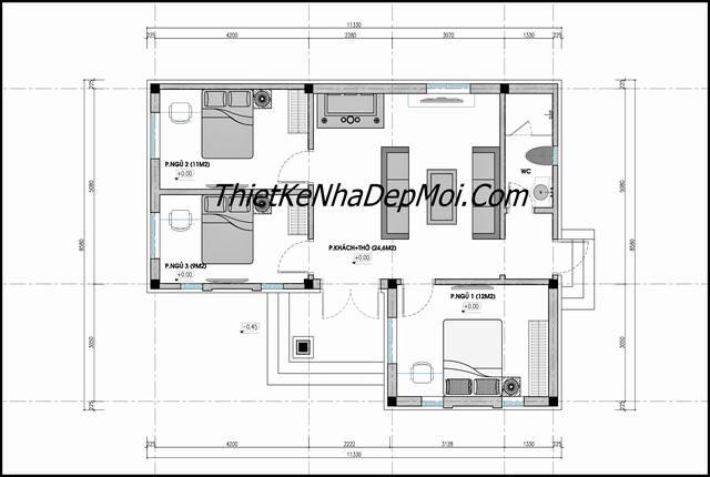 Mặt bằng nhà cấp 4 chữ L ngang 100m2 3 phòng ngủ