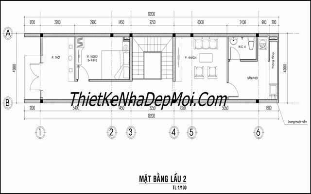 Bản vẽ nhà phố 4x18