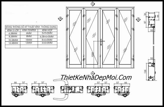 Bản vẽ kích thước cửa nhà theo phong thủy 4 cánh