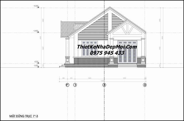 Bản vẽ thiết kế biệt thự trệt mái thái 10x15m
