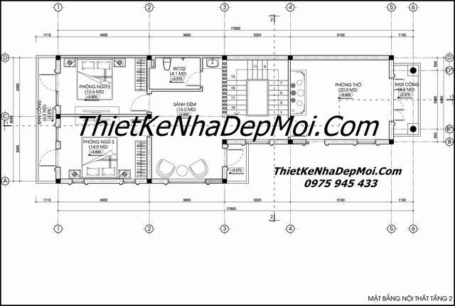 bản vẽ xây nhà 2 tầng 8x20