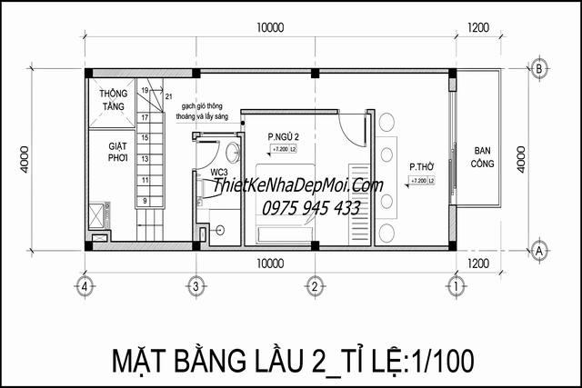 Thiết kế nhà ống lệch tầng 4m