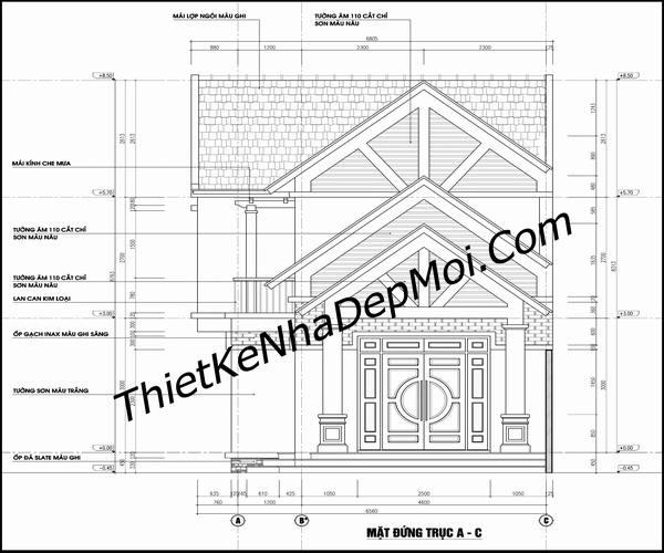 Bản vẽ cad nhà 1 trệt 1 lửng mái thái ngang 6m