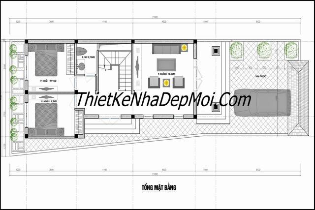 Bản vẽ thiết kế nhà gác lửng 6x20