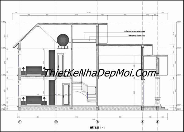 Bản vẽ nhà 1 trệt 1 lửng mái thái ngang 6m