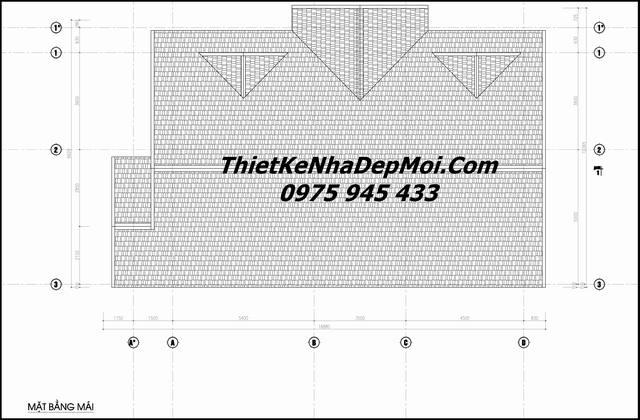 Bản vẽ mái biệt thự mini nhà vườn cấp 4
