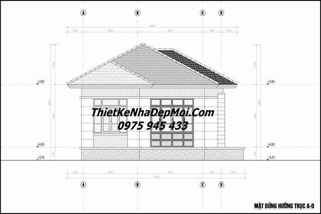 Bản vẽ thiết kế nhà đẹp 1 tầng