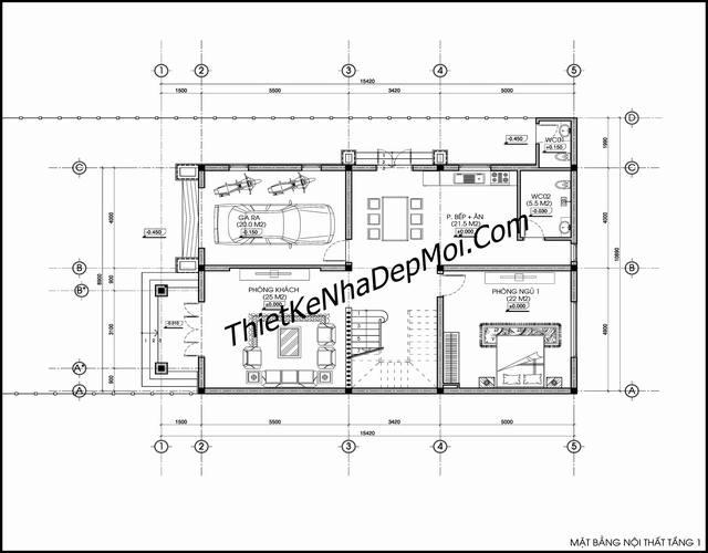 Mặt bằng biệt thự 2 tầng 9x16