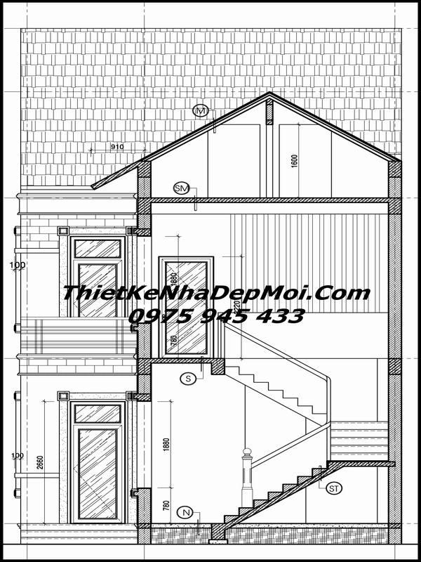 Bản vẽ thiết kế nhà 2 tầng mái thái