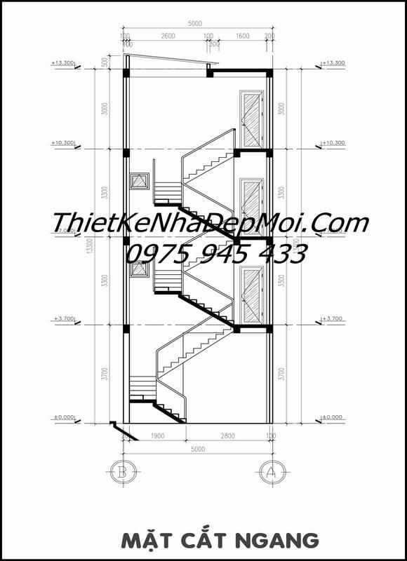 bản vẽ cầu thang nhà ống 5m