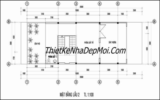 bản vẽ tầng tum nhà phố 1 trệt 2 lầu rộng 6m