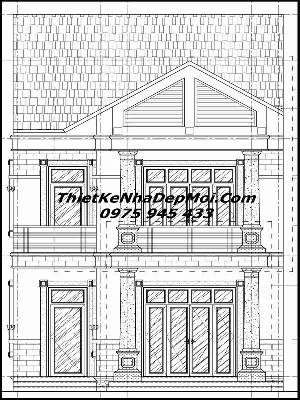 Bản vẽ nhà 2 tầng 6x20