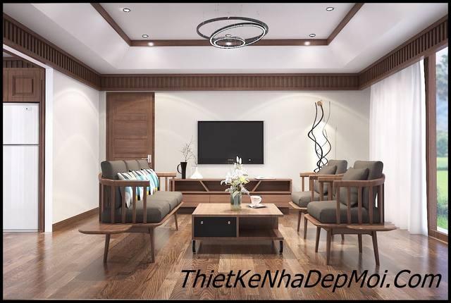 Mẫu phòng khách đẹp bằng đồ gỗ mộc tối giãn